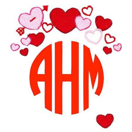 Valentine's Day Hearts Monogram Topper