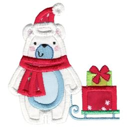 Christmas Polar Bear Applique