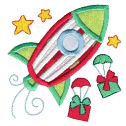 Christmas Rocket Ship Applique