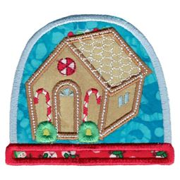 Gingerbread House Snow Globe Applique