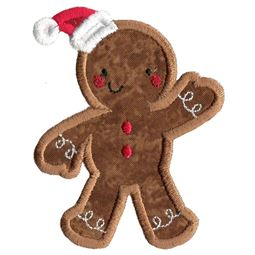 Christmas Gingerbread Man Applique