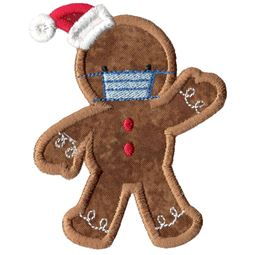 Face Mask Gingerbread Man Applique
