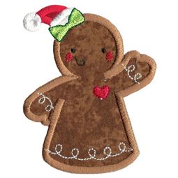 Christmas Gingerbread Lady Applique