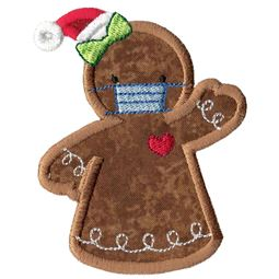 Face Mask Gingerbread Lady Applique
