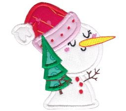 Snowman with Christmas Tree Applique
