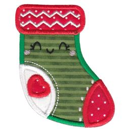 Kawaii Christmas Stocking Applique