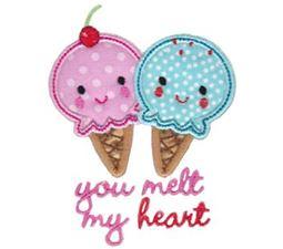 You Melt My Heart Ice Creams Applique