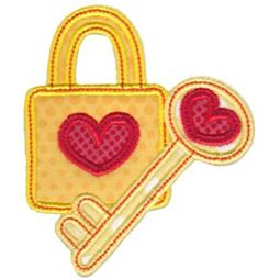 Heart Lock and Key Applique