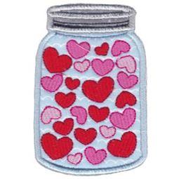 Hearts Mason Jar Applique