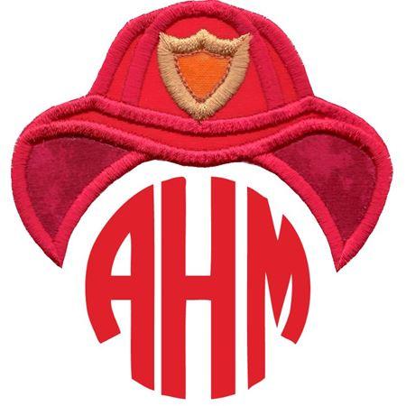 Fireman Hat Monogram Topper