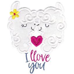 Love My Llama Applique 12