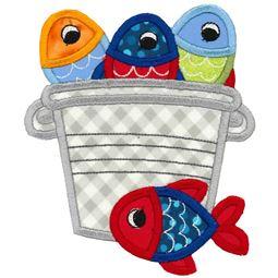 Bucket of Fish Applique
