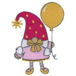 Girl Gnome Holding Balloon