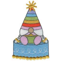 Girl Gnome Sitting On Birthday Cake