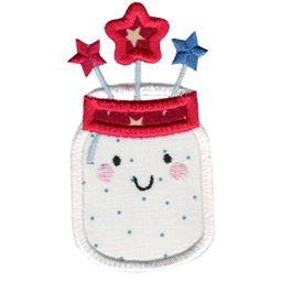 Applique Patriotic Mason Jar
