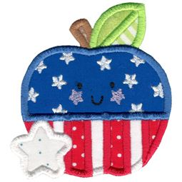 Applique Patriotic Apple