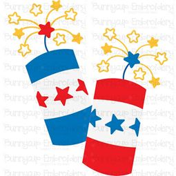 Pair of Patriotic Firecrackers SVG