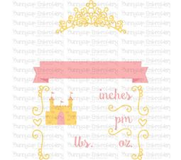 Princess Birth Announcement US am SVG