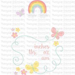 Rainbow Birth Announcement US am SVG