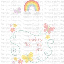 Rainbow Birth Announcement US pm SVG