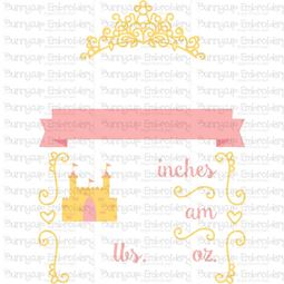 Princess Birth Announcement US pm SVG