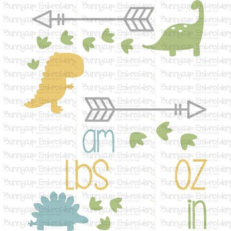 Dinosaur Birth Announcement US am SVG