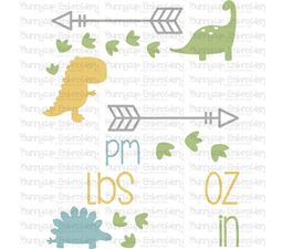 Dinosaur Birth Announcement US pm SVG
