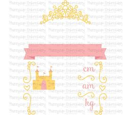 Princess Birth Announcement Metric am SVG