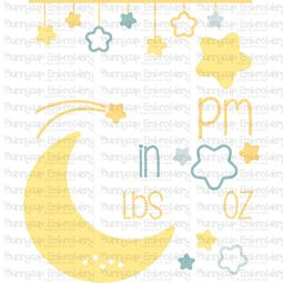 Moon Birth Announcement US pm SVG