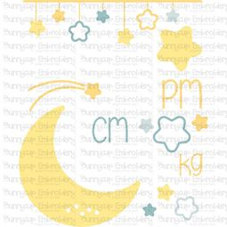 Moon Birth Announcement Metric pm SVG