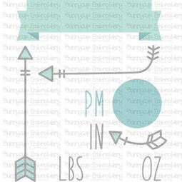 Modern Birth Announcement US pm SVG
