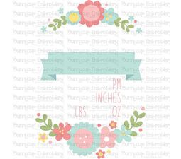 Floral Birth Announcement US pm SVG
