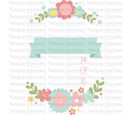 Floral Birth Announcement Metric pm SVG