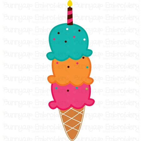 Three Scoops Birthday Ice Cream SVG