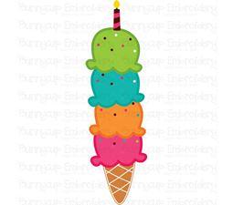 Four Scoops Birthday Ice Cream SVG