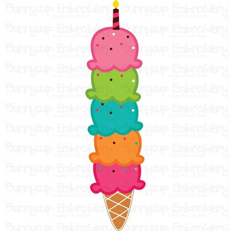 Five Scoops Birthday Ice Cream SVG