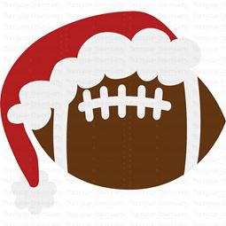 Football with Santa Hat SVG
