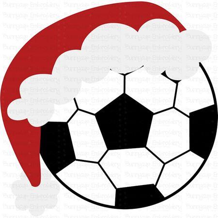 Soccer Ball with Santa Hat SVG
