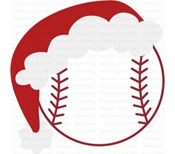 Baseball with Santa Hat SVG