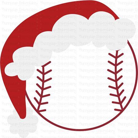 Baseball with Santa Hat SVG