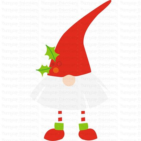 Fan Beard Gnome With Holly SVG