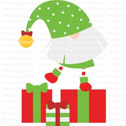 Gnome Standing On Presents SVG