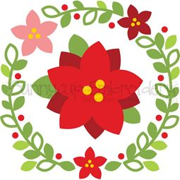 Poinsettia Laurel SVG