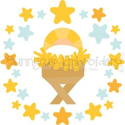 Baby Jesus Laurel SVG