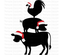 Christmas Farm Animals Stack SVG