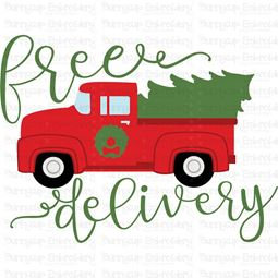 Vintage Red Truck Free Delivery SVG