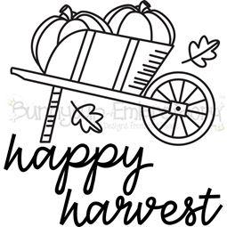 Wheelbarrow of Pumpkins Happy Harvest SVG