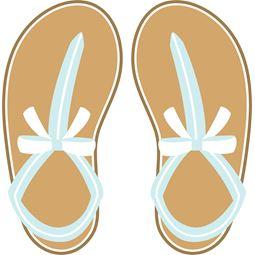 Pretty Blue Bow Flip Flops SVG