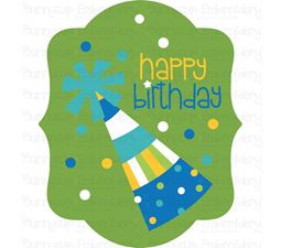 Party Hat Happy Birthday Gift Tag SVG
