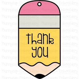 Pencil Thank You Gift Tag SVG